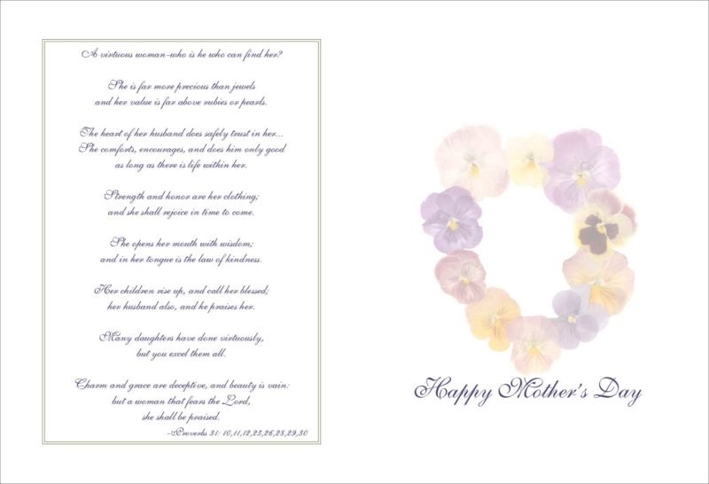 """Mothers Day Greeting Card #98-34 """"A Virtuous Woman"""""""